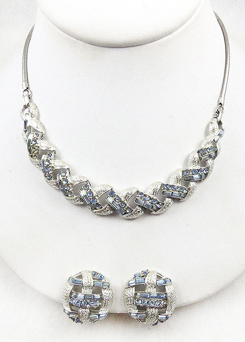 Coro/Corocraft - Coro Blue Rhinestone Necklace Set