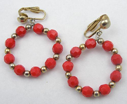 Earrings - Red Glass Bead Hoop Earrings