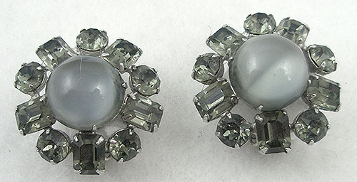 Winter Colors Jewelry - Gray Glass Moonstone Earrings