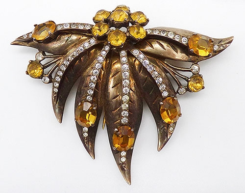 Leaves & Plants - Eisenberg Sterling Vermeil Leaves Fur Clip