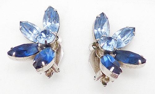 Earrings - Kramer Blue Rhinestone Earrings
