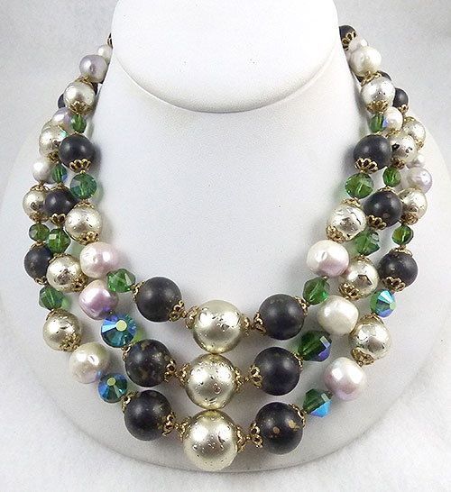 Newly Added Triple Strand Beaded Necklace