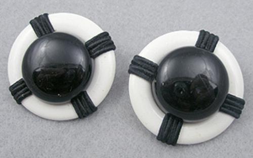 Nautical Jewelry - Black & White Nautical Earrings