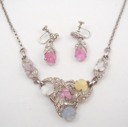 Newly Added 1930's Fruit Salad Necklace Set