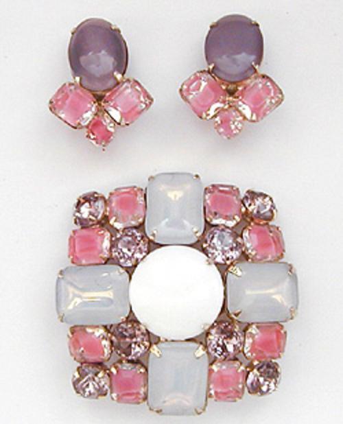 Sets & Parures - Pink Givre Glass Brooch Set