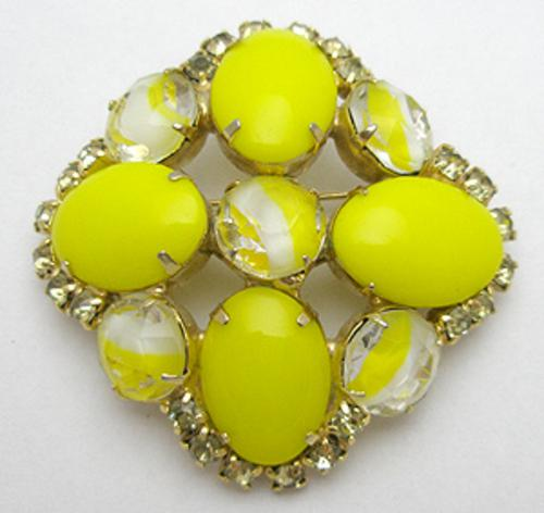 Newly Added Canary Yellow Glass Brooch