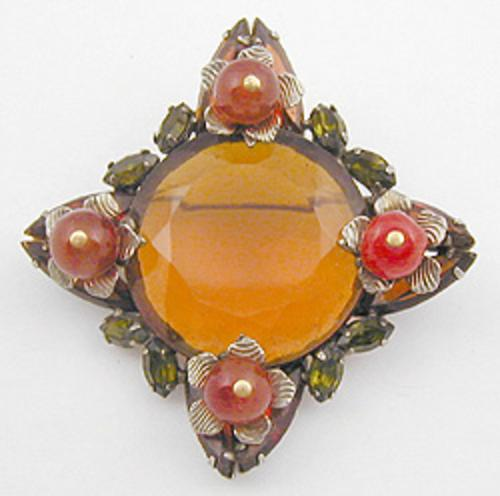 Newly Added Topaz Glass Orange Bead Brooch