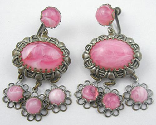 Earrings - Pink Swirl Dangle Earrings
