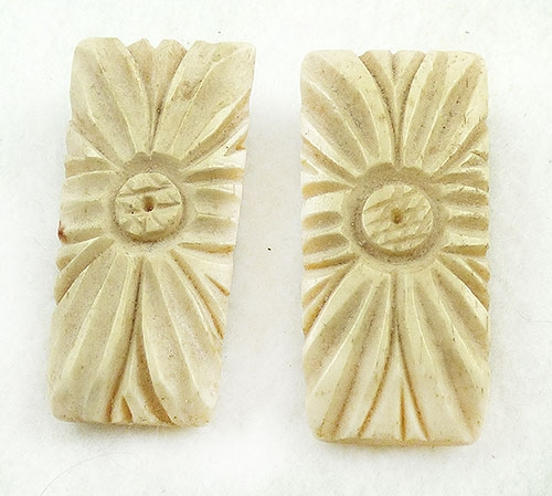 Newly Added Carved Bone Dress Clips Pair
