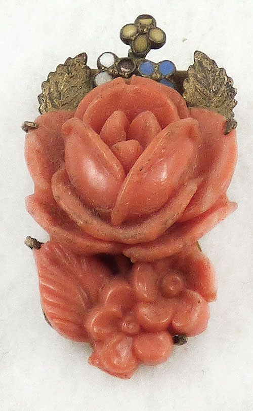 Florals - Coral Celluloid Rose Dress Clip