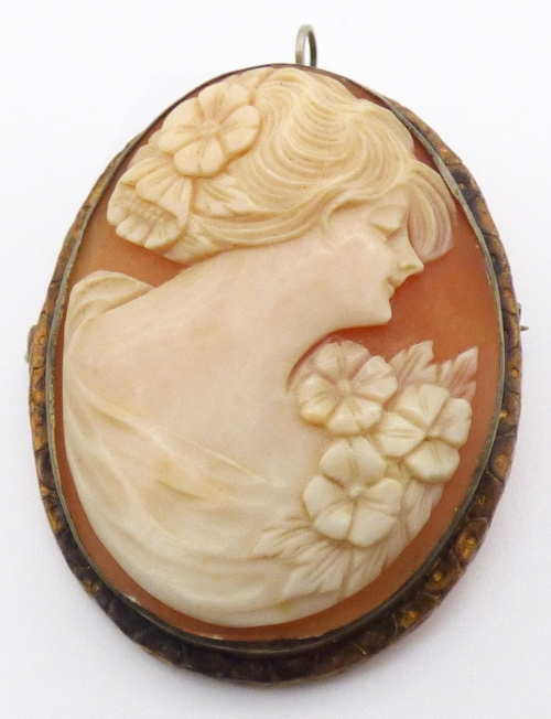 Brooches - Art Deco Chloris Shell Cameo Brooch