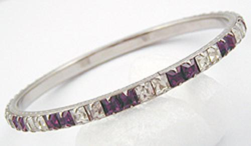 $25 or Less - Amethyst and Clear Rhinestone Bangle