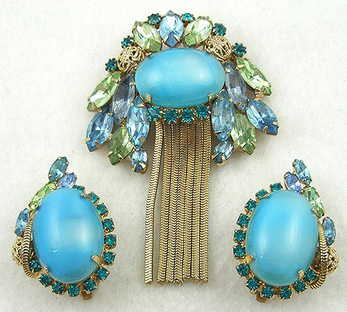 Sets & Parures - Aqua Art Glass Rhinestone Brooch Set