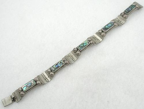 Bracelets - Vintage Taxco Sterling Abalone bracelet