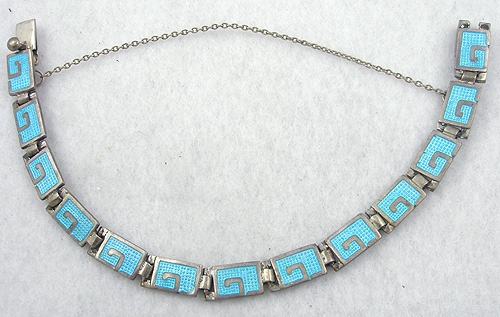 Newly Added Margot de Taxco Aqua Enamel Bracelet