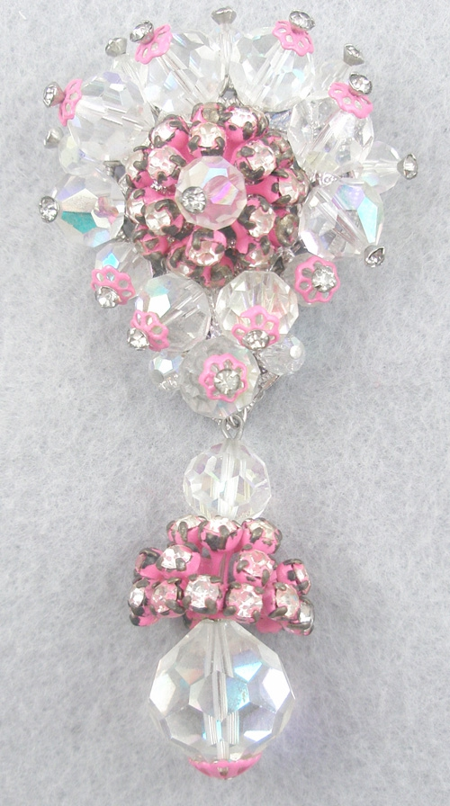 Brooches - Vendome Pink Enameled Crystal Brooch