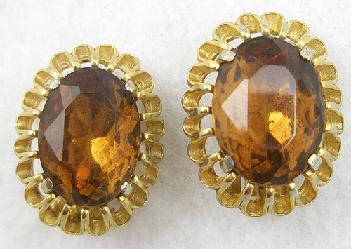 Schiaparelli - Schiaparelli Topaz Rhinestone Earrings