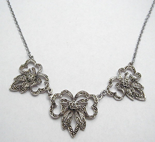 Necklaces - Marcasite Bow Necklace