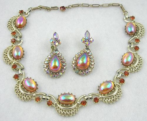 Coro/Corocraft - Coro Topaz Aurora Teardrop Necklace Set
