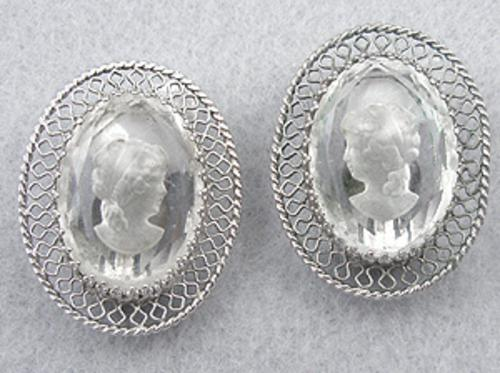 Whiting & Davis - Whiting & Davis Glass Intaglio Earrings