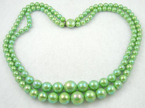 Necklaces - Iridescent Lime Beads Necklace