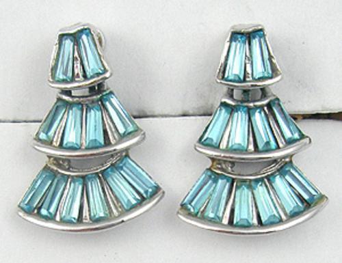 Earrings - Aqua Rhinestone Baguette Earrings