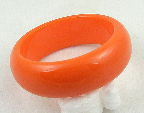 Bracelets - Orange Bakelite Bangle Bracelet