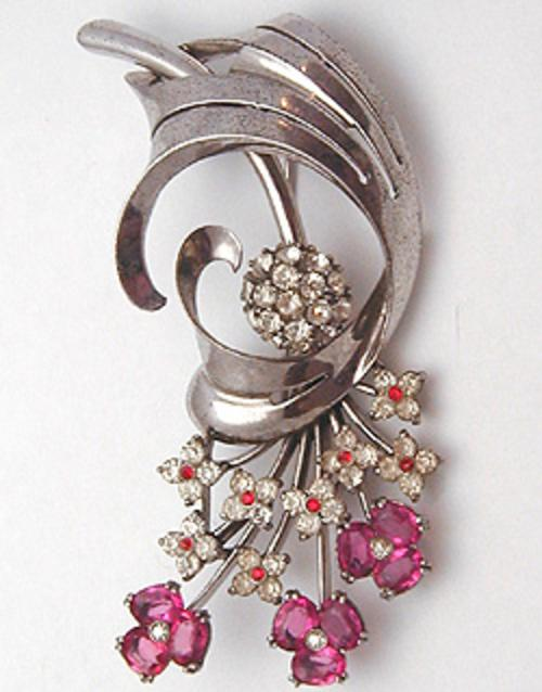 Newly Added Pennino Sterling Pink Flowers Brooch