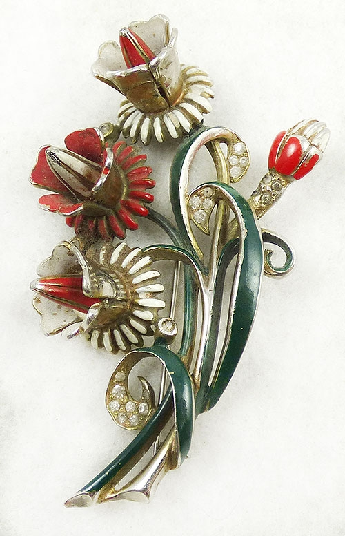 Newly Added Deja Enameled Floral Brooch