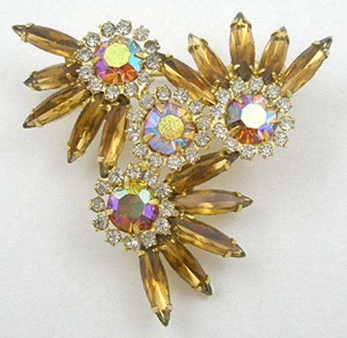 Newly Added Topaz Rhinestone Pinwheel Brooch