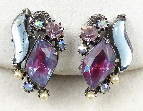 Earrings - Florenza Blue and Fuchsia Earrings