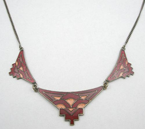 Art Deco - Art Deco Red Enameled Necklace