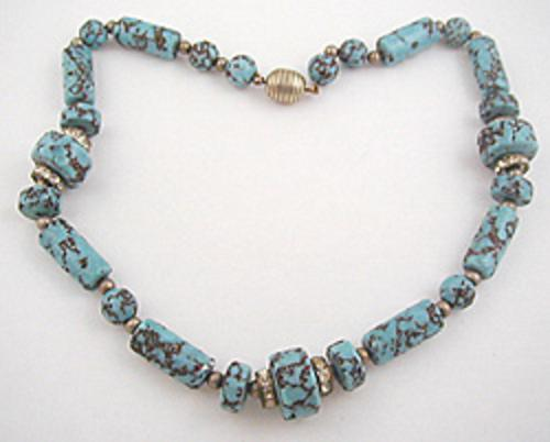 France - French Turquoise Glass Bead Necklace