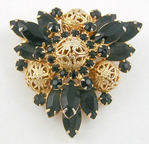 Newly Added DELizza & Elster Black Navette Brooch
