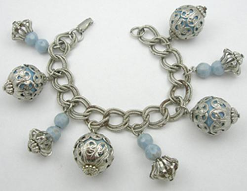 Newly Added Caged Pale Blue Bead Charm Bracelet