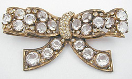 Brooches - 1940's Huge Rhinestone Bow Brooch