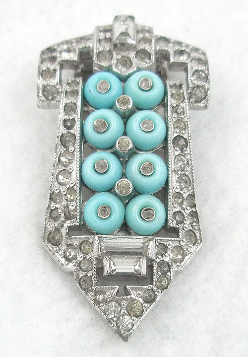 Trifari - Trifari KTF Aqua 'Shoebutton' Dress Clip