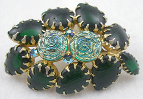Newly Added Green Aurora Molded Glass Roses Brooch