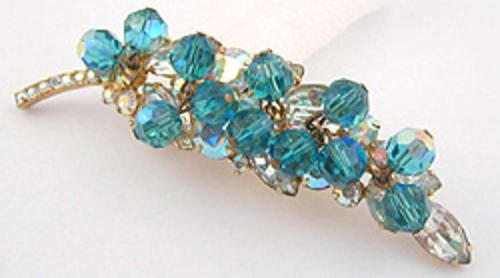 Newly Added DeLizza & Elster Aqua Bead Leaf Brooch