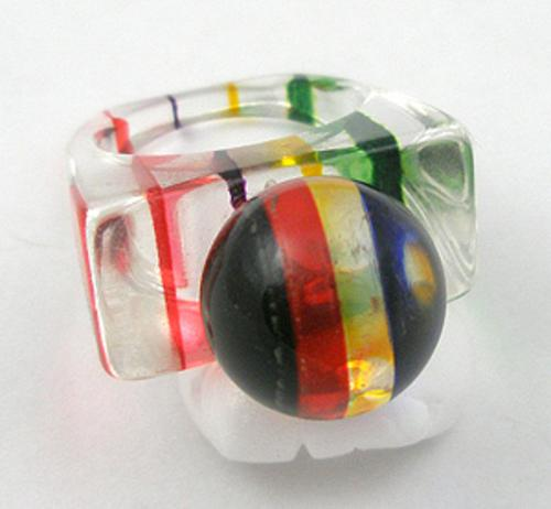 Rings - Striped Lucite Ring