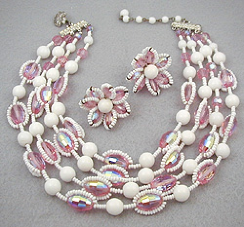 Vendome - Vendome Pink & White Bead Necklace Set