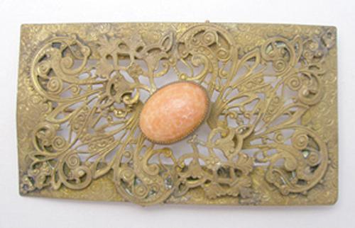 Brooches - Ornate Brass Filigree Sash Pin