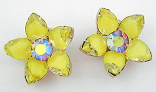 Florals - Yellow Givre Glass Flower Earrings