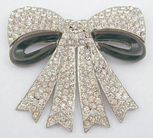 Brooches - Rhinestone & Bakelite Bow Brooch