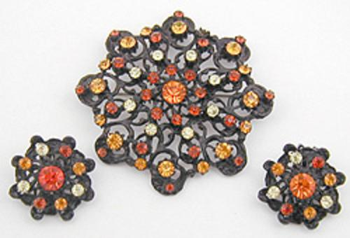 Autumn Fall Colors Jewelry - Hobé Japanned Topaz Brooch Set