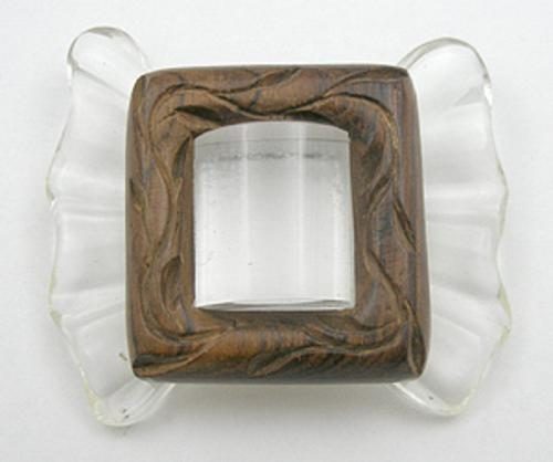 Newly Added Lucite and Wood Bow Brooch