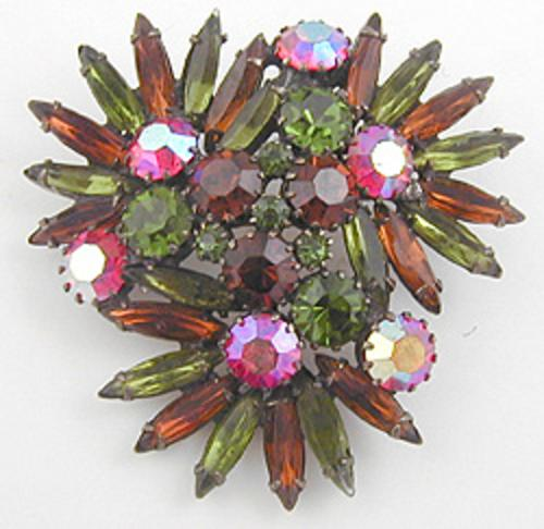 Newly Added Green and Topaz Thin Navette Rhinestone Brooch