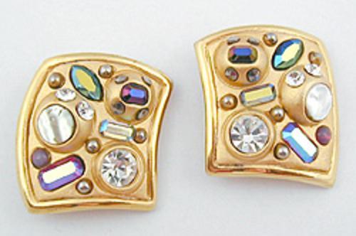 Earrings - Square Rhinestone Confetti Earrings