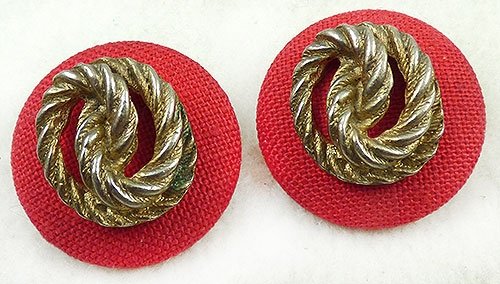 Newly Added Red Linen Gold Knot Earrings