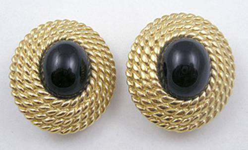 Earrings - Ciner Black Glass Cabochon Earrings